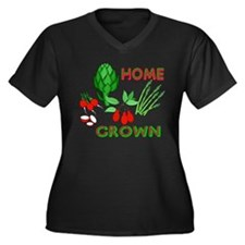 Home Grown Women's Plus Size V-Neck Dark T-Shirt