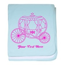 Pink Carriage Custom Text. baby blanket