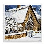 Farmhouse in the Snow Tile Coaster