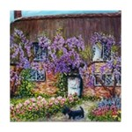 Cottage with Wisteria Tile Coaster