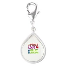 Peace Love Belly Dancing Silver Teardrop Charm