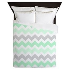 Mint Green Grey Chevron Queen Duvet