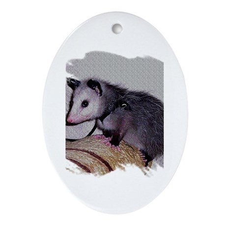 Baby Possum Oval Ornament