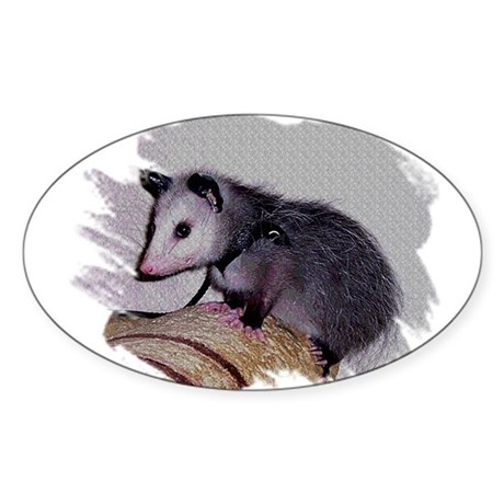 Baby Possum Oval Sticker