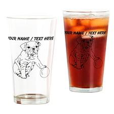 Custom Bulldog Puppy Sketch Drinking Glass