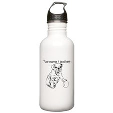 Custom Bulldog Puppy Sketch Water Bottle