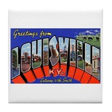 Louisville Kentucky Greetings Tile Coaster
