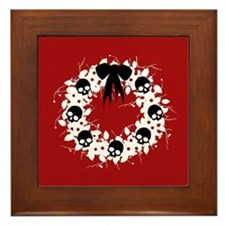 Gothic Christmas Wreath Framed Tile