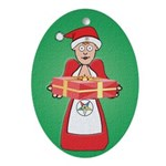 OES Mrs Santa Claus Oval Ornament