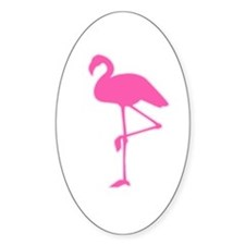 Pink Flamingo Oval Decal