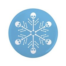 "Skull Snowflakes 3.5"" Button"