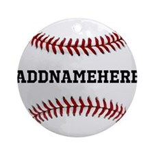 Personalized Baseball Red/White Ornament (Round)