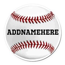 Personalized Baseball Red/White Round Car Magnet