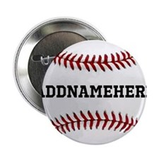 """Personalized Baseball Red/White 2.25"""" Button (10 p"""