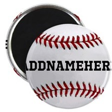 Personalized Baseball Red/White Magnet