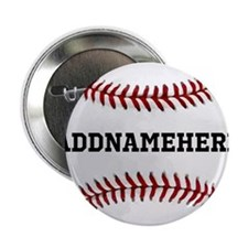 "Personalized Baseball Red/White 2.25"" Button"