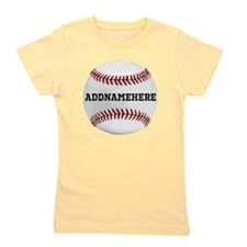 Personalized Baseball Red/White Girl's Tee