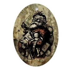 Grungy Santa Ornament (Oval)