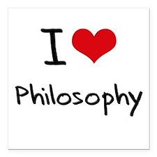 "I Love PHILOSOPHY Square Car Magnet 3"" x 3"""