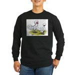 white Polish Chickens Long Sleeve Dark T-Shirt