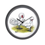 white Polish Chickens Wall Clock