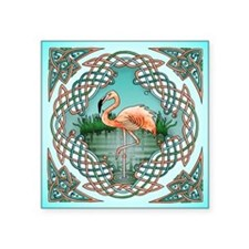 "Celtic Flamingo Art Square Sticker 3"" x 3"""