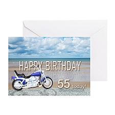 55th birthday beach bike Greeting Cards (Pk of 10)