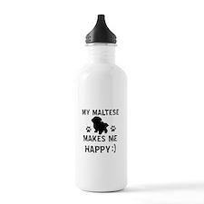 My Maltese dog makes me happy Water Bottle