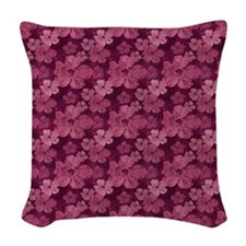 Hibiscus Burgundy Batik Woven Throw Pillow