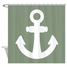 Medium Loden Green Ship's Anchors Shower Curtain