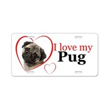 Pug Love Aluminum License Plate