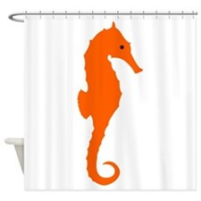 Orange Seahorse Shower Curtain