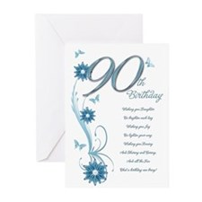 90th birthday in teal Greeting Cards (Pk of 10)