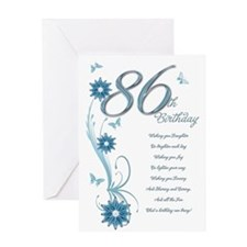 86th birthday in teal Greeting Card