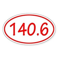 Red 140.6 Oval Decal