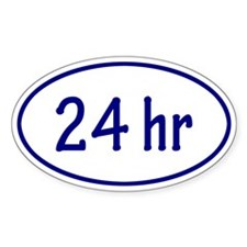 Blue 24 hr Oval Decal