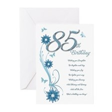 85th birthday in teal Greeting Cards (Pk of 20)