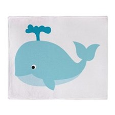 Blue Cartoon Whale Throw Blanket