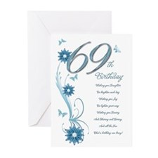 69th birthday in teal Greeting Cards (Pk of 10)