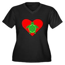 Green Turtle Heart Plus Size T-Shirt