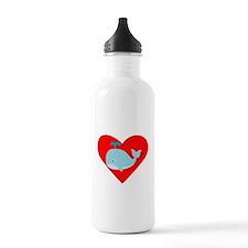 Blue Whale Heart Sports Water Bottle