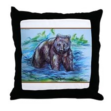 Bear, wildlife art Throw Pillow