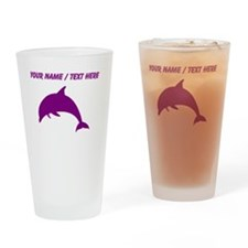 Custom Purple Dolphin Drinking Glass