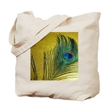 Glittery Gold Peacock Tote Bag