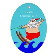 Personalized Water Skiing Santa Ornament