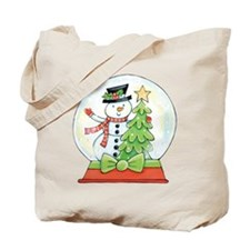 Cartoon Christmas Snow Globe Snowman Tree Tote Bag
