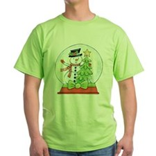 Cartoon Christmas Snow Globe Snowman Tree T-Shirt