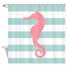 Pink and Mint Seahorse Shower Curtain