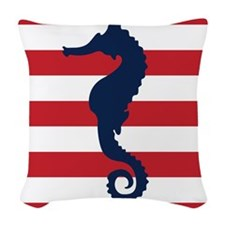 Blue and Red Sea Horse Woven Throw Pillow