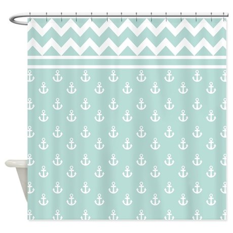 Light Teal Anchors And Chevrons Shower Curtain By Hhtrendyhome